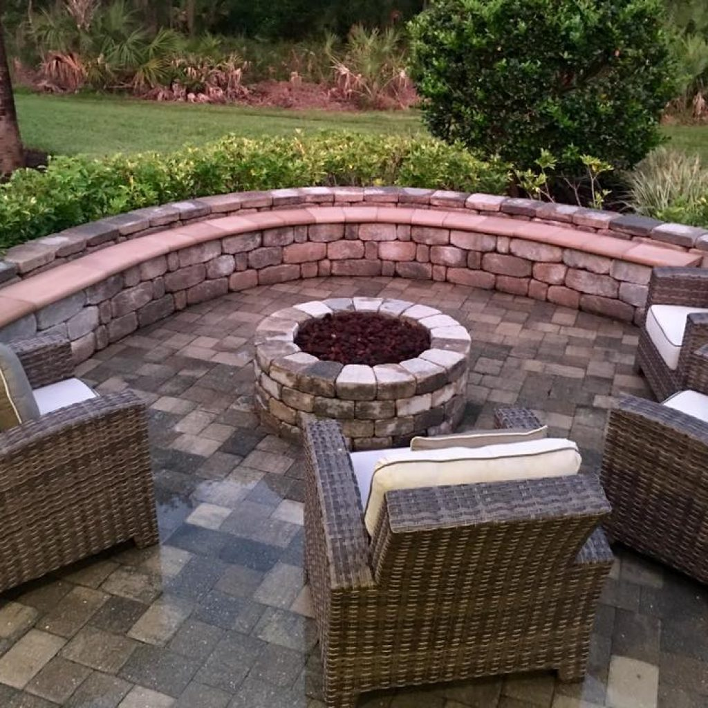 Stone Pavers And Custom Bench